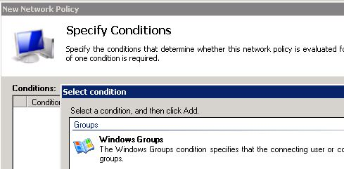 Specifying windows groups for NPS