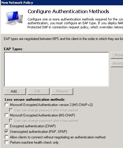 Cisco Radius authentication PAP
