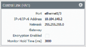 Palo Alto High Availability firewall 2 control link