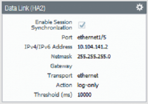 Palo Alto High Availability firewall 2 data link settings